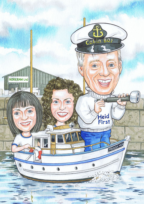 Aberdeen Captain sailing boat through Peterhead Harbour, Aberdeenshire, Cabin Boy's 70th Birthday caricature gifts from photos