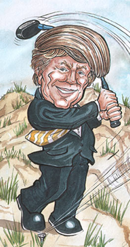 Donald Trump playing golf at Balmedie Beach Aberdeen.