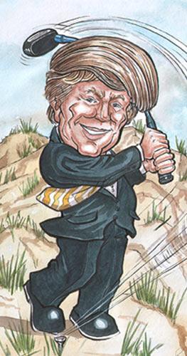 Donald Trump playing golf at Balmedie Beach Aberdeen.