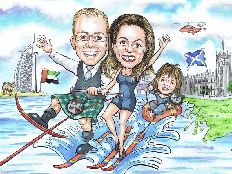 Freelance caricaturists subject leaving Aberdeen office Scotland caricatures from photos