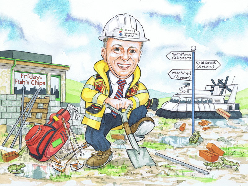 London Homes and communities English builders office works leaving gift caricature by Scottish Caricaturist R Smith Illustrations.