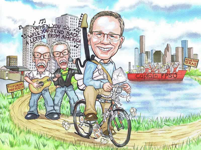 Aberdeen officeworks man cycling to Houston Texas Scottish office works leaving gift caricatures