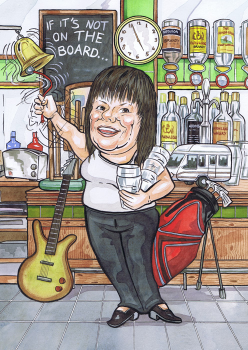 Aberdeen pub The Kittybrewster bar leaving gift caricature from photos with barmaid calling time