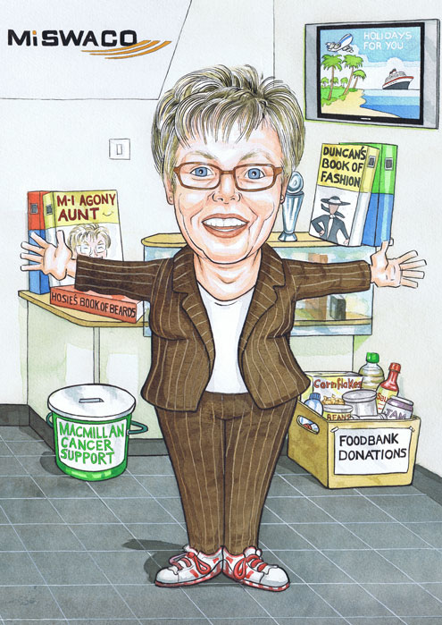 Aberdeen office cartoon with Scottish receptionist welcoming with open arms caricature.