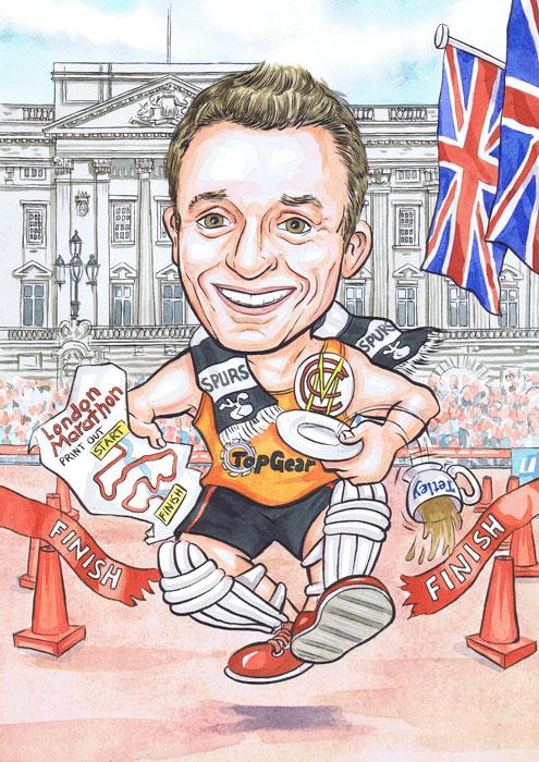 Runners Running The London Marathon Caricature By Scottish Caricaturist Ron M Smith The Illustration Room.