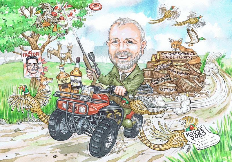 Works Leaving gift for Crichie Estate Peterhead Aberdeenshire North East Scotland part-time gamekeeper hunting grouse and ducks retirement caricature by Scottish Caricaturist Ron M Smith.
