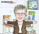 Receptionist leaving caricature gift