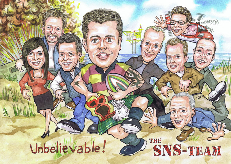 Aberdeen caricaturists The A Team office works leaving gift caricature from photos