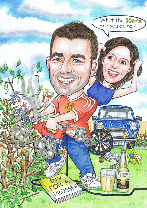 DIY 30th birthday caricature present for an Aberdeen gardening handyman by Scottish caricaturists R Smith Illustrations The Illustration Room.