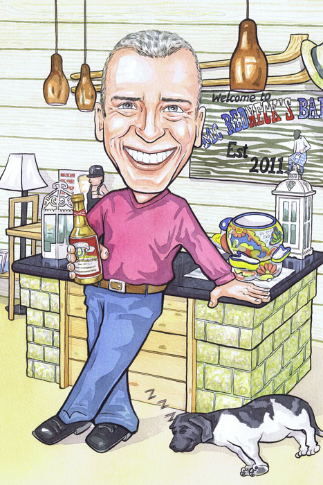 Scottish caricaturists 50th birthday present gift portraying pub barman pouring beer caricatures from clients photos