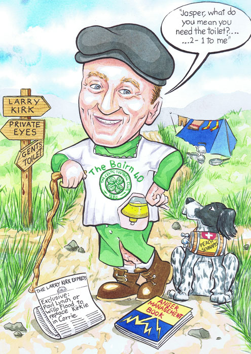 40th Birthday gift caricature present from photos with man standing at aberdeen crossroads