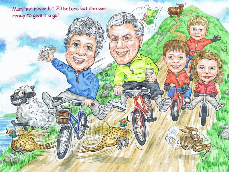 Aberdeen family portrait with cyclists cycling down a Scottish Mountain birthday caricature gift