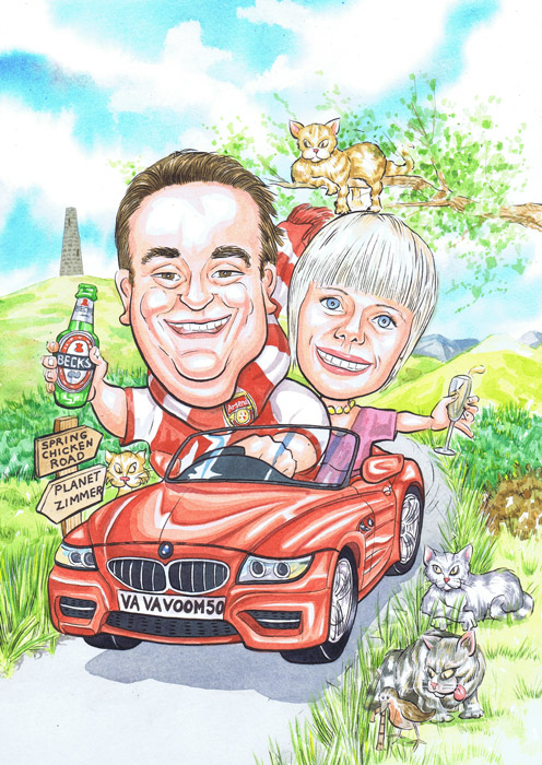 Banchory Aberdeenshire Scottish caricaturists 50th Birthday gift caricature from photos