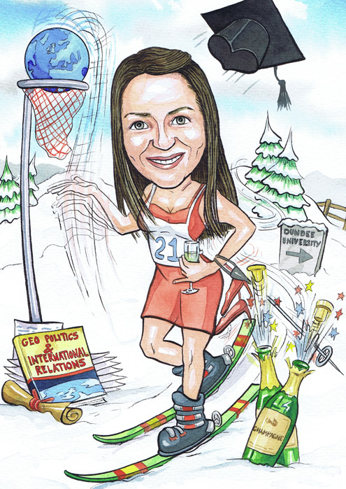 A Scottish Girls 21st Birthday caricature present with caricaturists subject skiing in North Scotland
