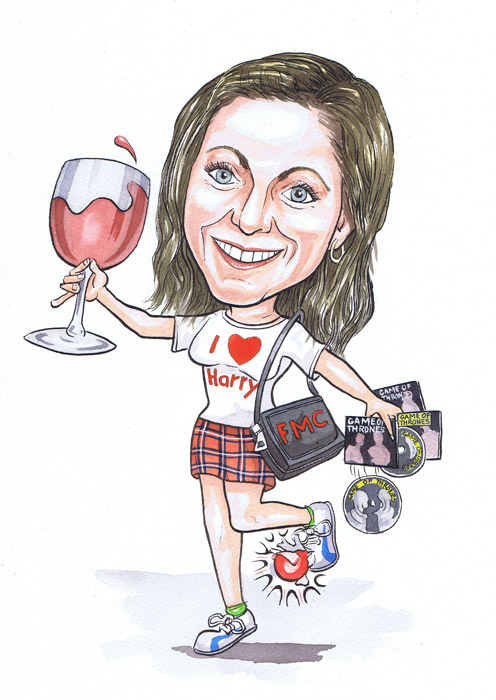 Scottish caricaturists 40th Birthday caricature gifts with Aberdeen subject drinking large glass of wine
