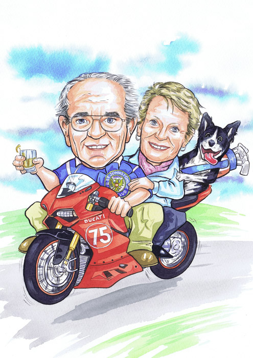 Scottish caricatures 75th birthday present gift taken from clients photos for Aberdeen motor bike enthusiast