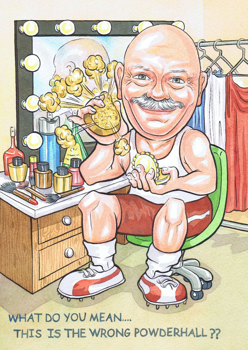 50th Birthday gift caricature present from photos with subject sitting in a Womans Powderhall dress room by Scottish caricaturist Ron M Smith The Illustration Room