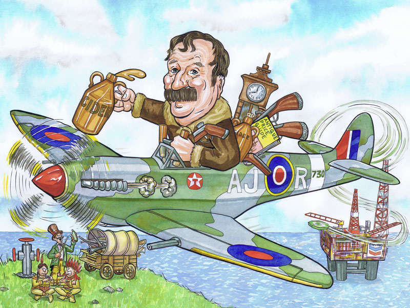 Aberdeen officeworks retirement caricature present from photos with caricaturists subject dressed as biggles flying Spitfires