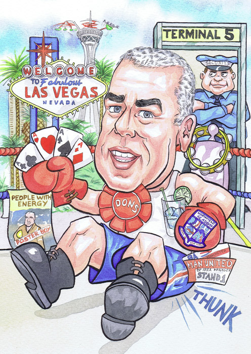 An Aberdeen office works Boxing sports ring retirement caricatures gift from clients photos