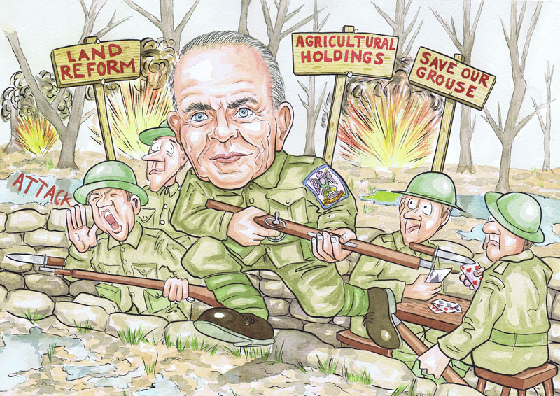 Glasgow Scotland retirement gift with scottish caricaturists subject dressed in british army uniform charging over trench