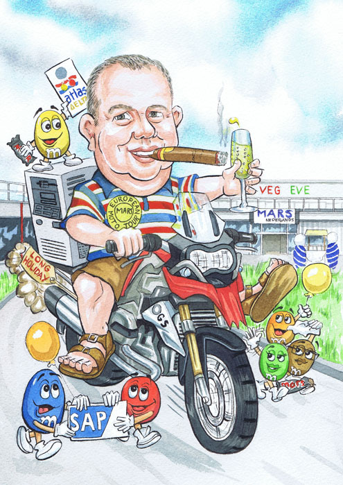 English retirement caricature portrait gift for Maltesers Mars London employee by Aberdeen Caricaturist Ron M Smith The Illustration Room.