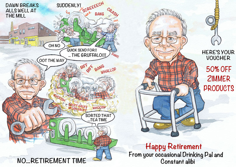 Aberdeen UK wiggins teape office works retirement cartoon caricature from photos