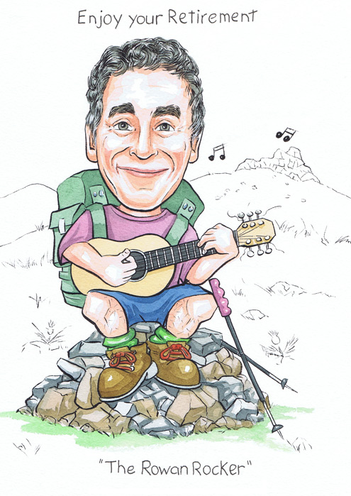 Caricaturists hill walking subject playing guitar on top of a hilltop in North East Scotland retirement gift
