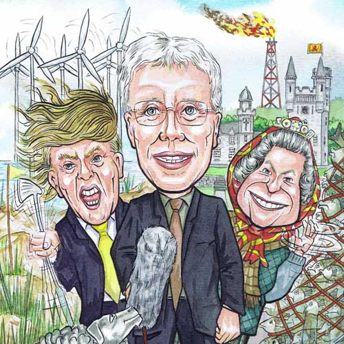 caricaturists in Scotland portrait of a caricature with wind farms and fishing nets