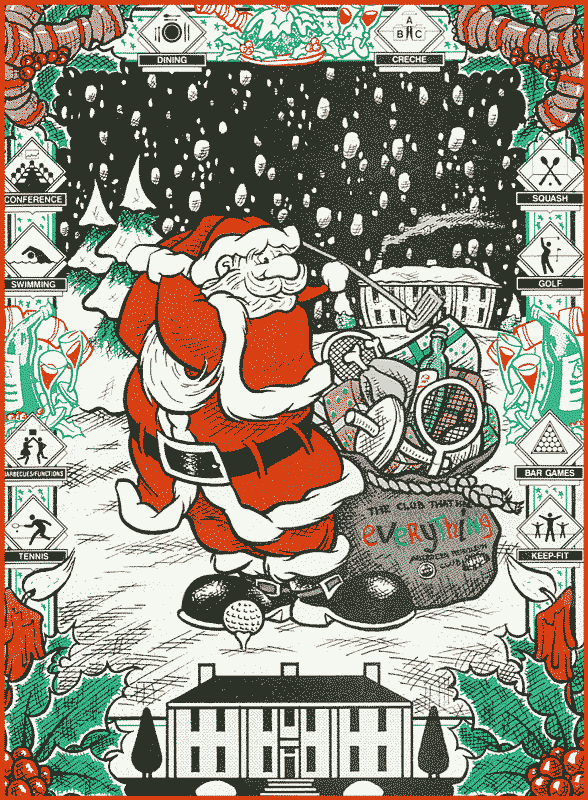 Scottish cartoonists Kippie Lodge sports Christmas card cartoon illustrations for the Aberdeen Petroleum Club.
