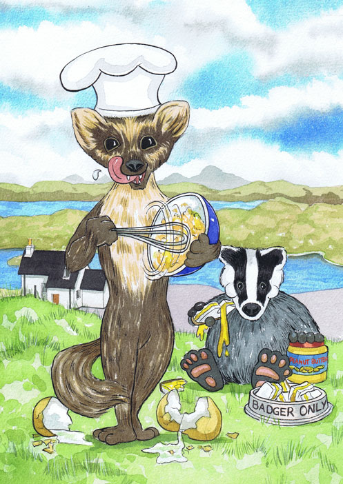 Scottish Badger and Stoat scrambling eggs and eating sandwiches for Aberdeen clients cartoon Christmas Gift.