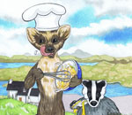 Scottish Stoat and Badger Cartoon