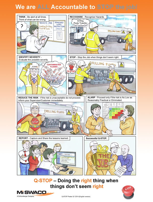 Mi Swaco Q-Stop health and safety cartoon strip designed for internal magazine and posters illustrated by Scottish Illustrator Ron M Smith The Illustration Room.