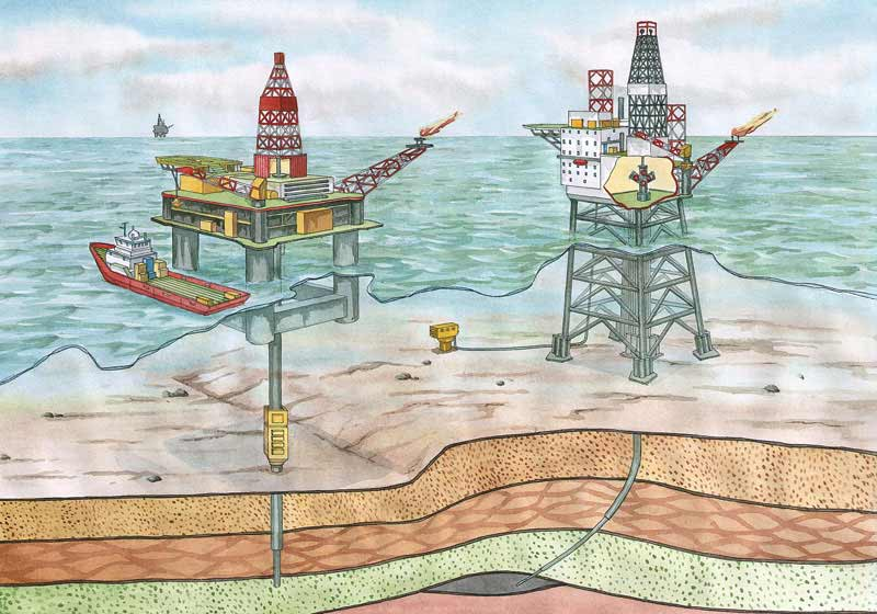 Aberdeen North Sea cartoon oil rigs Christmas Tree diagram describing the drilling for oil process