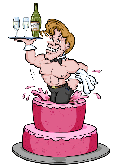 Aberdeen Hen night cartoon Vector logo with man jumping out of a cake for Beefcake Butlers.