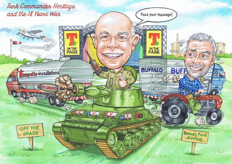 T in the park illustration by aberdeen illustrator Ron M Smith RMS illustrations caricatures from photos.
