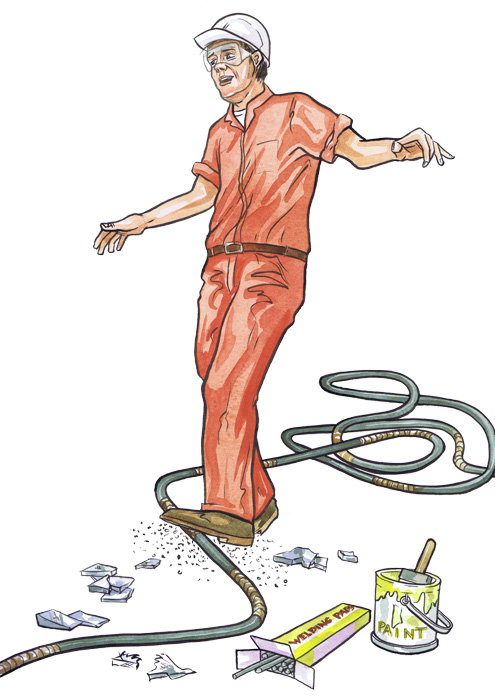 Health and safety illustration by Aberdeen illustrator Ron M Smith The Illustration Room.