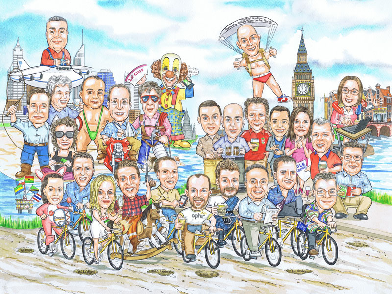Australian oil industry London office works retirement group caricature hand drawn painted by caricaturist Ron M Smith The Illustration Room.