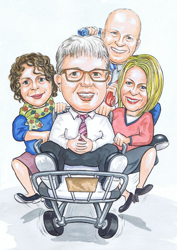 Aberdeen Caricaturists London NHS Hospital Managers office works leaving caricature gift to South East Ambulance Service