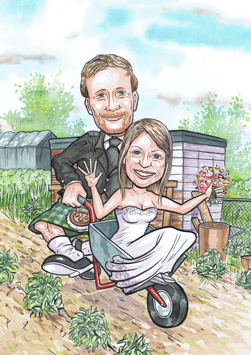 Aberdeen Caricaturists wedding invitations gift for Scottish Dundee Groom pushing Bride in a wheelbarrow wedding present