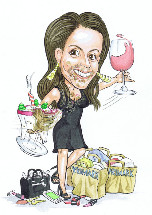 Aberdeen caricaturist Ron Smith's hand drawn painted subject eating 40th birthday cake plain background caricature gift