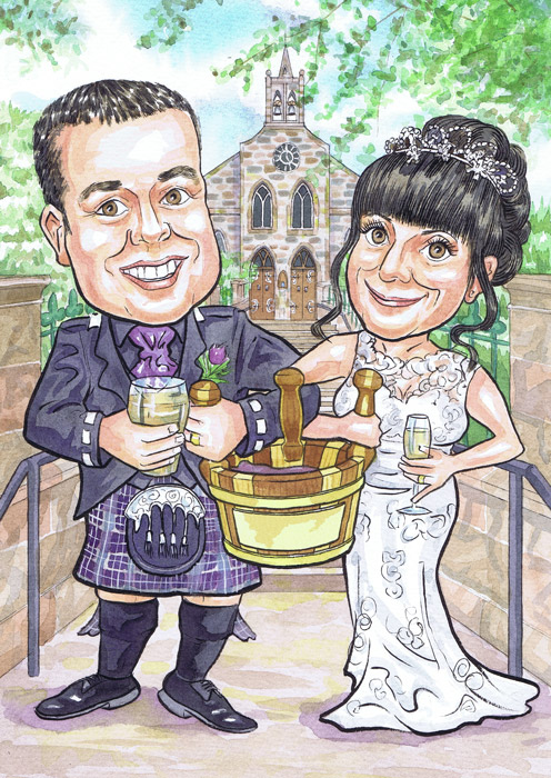 Fyvie Church Meldrum Aberdeenshire Wedding Anniversary Gift invites Scottish hand drawn hand painted caricatures from photos