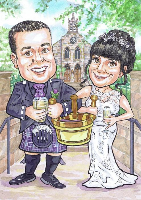 Fyvie Church Meldrum Aberdeenshire Wedding Anniversary Gift invites Scottish hand drawn hand painted caricatures from photos