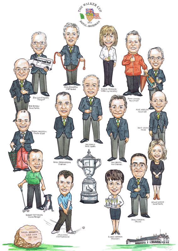 Scottish Royal Aberdeen Golf club Staff members sports caricatures from photos