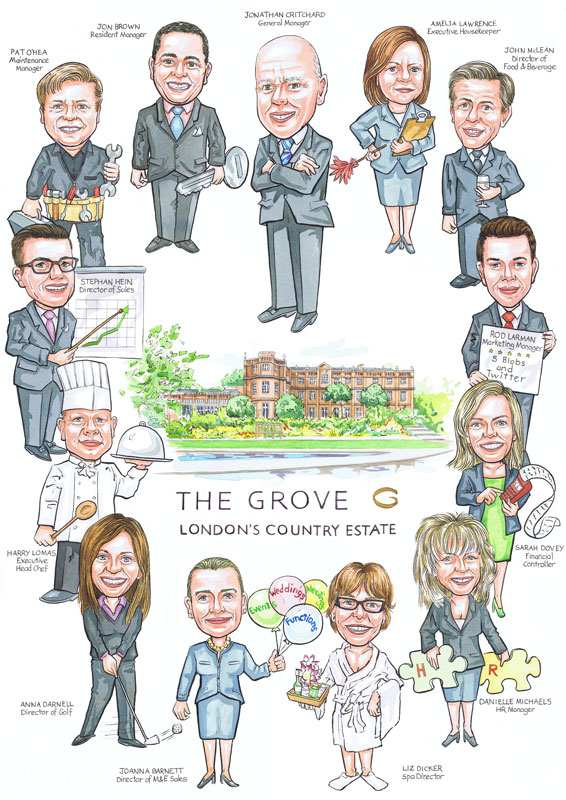 Retirement group portrait gift from photos portraying office staff members of The London Grove Hotel.