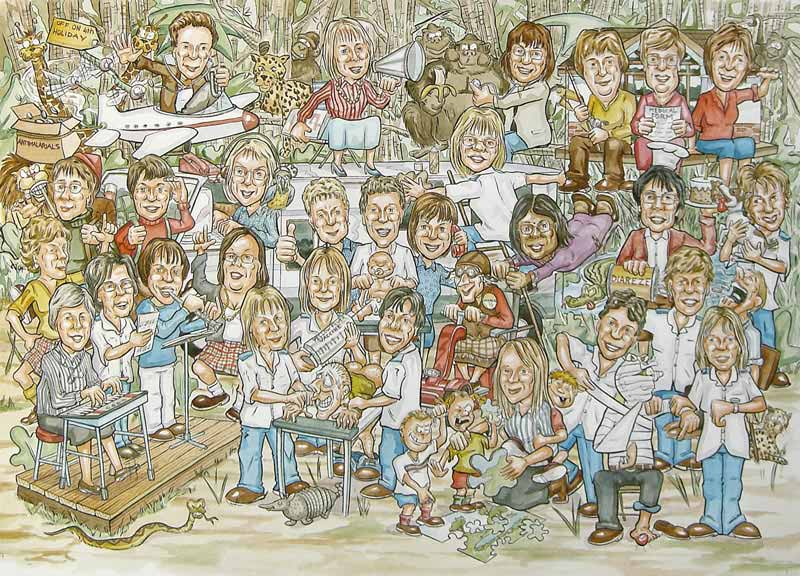 NHS Scotland Doctor and office staff members party in jungle group retirement caricature gift from photos.