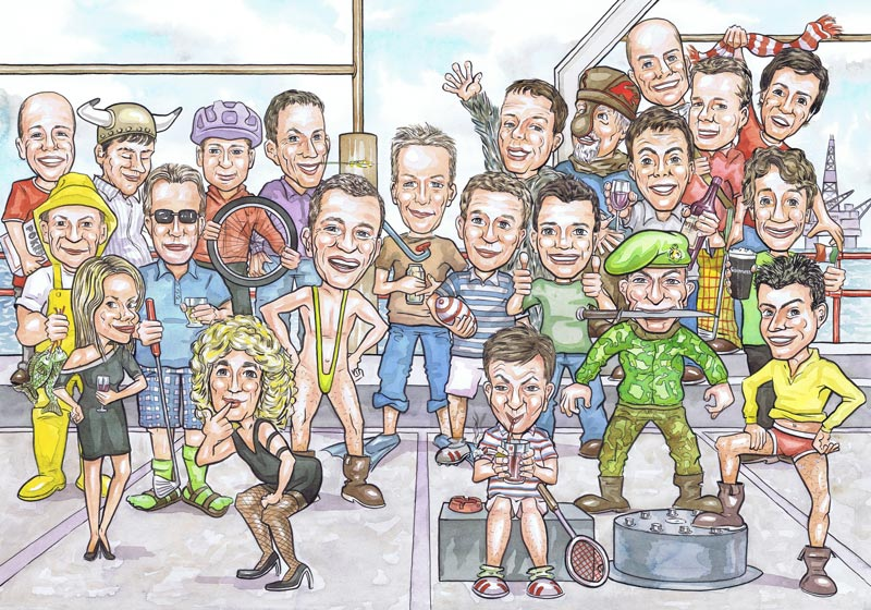 Aberdeen Scotland caricaturists oil drillers group leaving gift caricatures present from photos for office works colleague