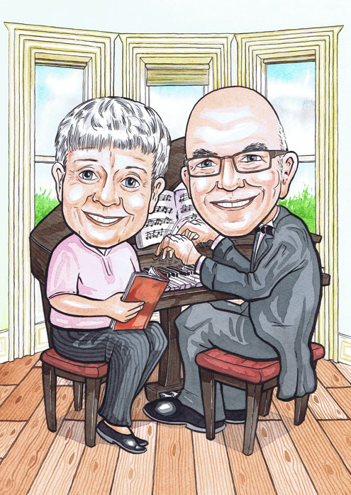 Aberdeen caricatures of Glasgow couple playing piano for they're Scottish hand painted caricature wedding anniversary gift