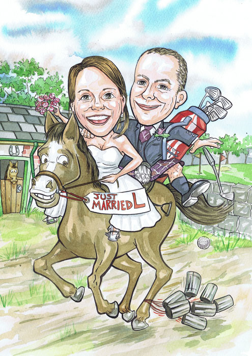 Aberdeen North Scotland bride and groom riding a horse anniversary wedding gift caricature portraits from photos