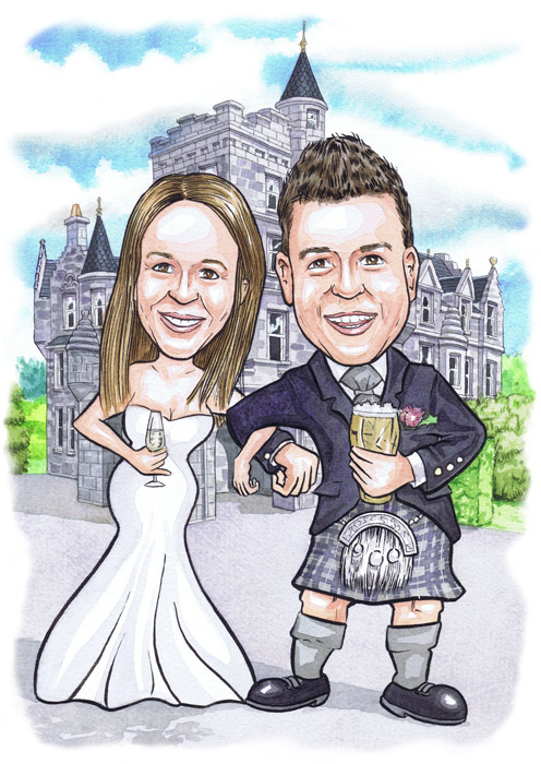 Scottish caricaturists gifts Bride and Groom drinking beer out side Ardoe House Wedding Invitation caricature presents