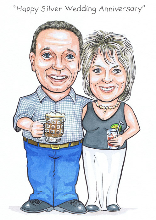 Scottish silver wedding anniversary by Aberdeen caricature artist RMS Illustrations plain background caricatures